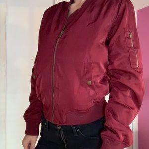 FOREVER 21: Red Velvet Bomber Jacket